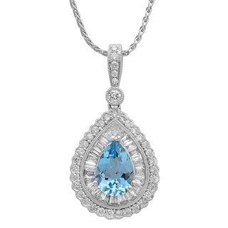 18k Gold 1 1/10ct TDW Diamond and Aquamarine Pendant Necklace (G-H, SI1-SI2)