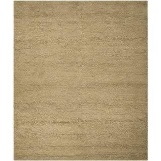 Safavieh Handmade Solid Classic Shag Khaki Wool Rug (8' x 10')