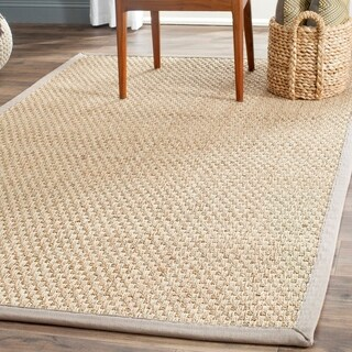 Safavieh Casual Natural Fiber Natural and Grey Border Seagrass Rug (3' x 5')