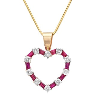14k Yellow Gold 5/8ct TDW Diamond and Rubelite Pendant (G-H, SI1-SI2)