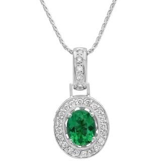 14k White Gold 1ct TDW White Diamond and Green Tourmaline Pendant (G-H, SI1-SI2)