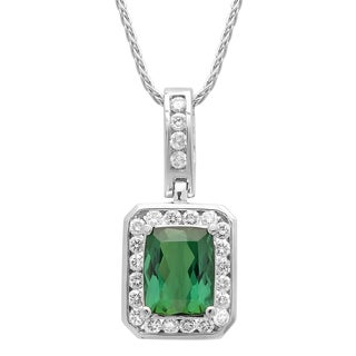 14k White Gold 5/8ct TDW White Diamond Green Tourmaline Pendant (G-H, SI1-SI2)