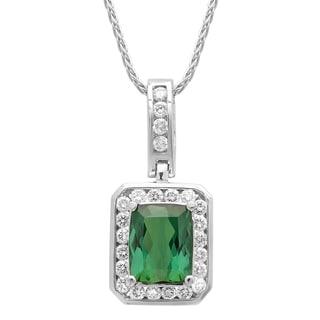 14k White Gold 5/8ct TDW White Diamond Green Tourmaline Pendant (G-H, SI1-SI2)