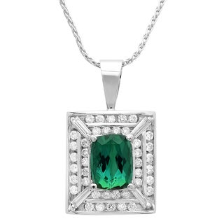 14k White Gold 1 1/10ct TDW Diamond and Green Tourmaline Pendant (G-H, SI1-SI2)
