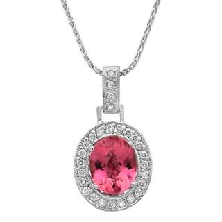 14k White Gold 1 1/6ct TDW White Diamond and Pink Tourmaline Pendant (G-H, SI1-SI2)