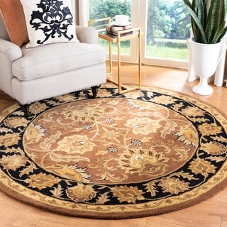 Safavieh Handmade Classic Brown/ Black Wool Rug (3'6 Round)