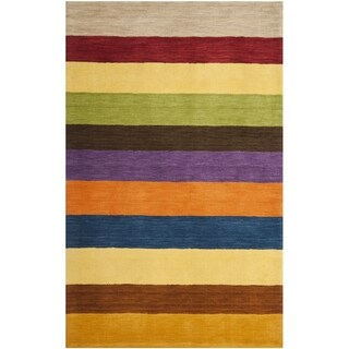 Safavieh Handmade Himalaya Yellow/ Multicolored Stripe Wool Gabbeh Rug (3' x 5')