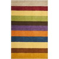 Safavieh Handmade Himalaya Yellow/ Multicolored Stripe Wool Gabbeh Rug - 3' x 5'