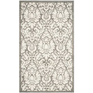 Safavieh Indoor/ Outdoor Amherst Dark Grey/ Beige Rug (3' x 5')