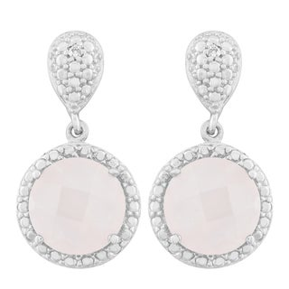 La Preciosa Sterling Silver Faceted Rose Quartz Diamond Accent Circle Earrings