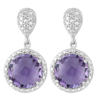 La Preciosa Sterling Silver Faceted Amethyst Diamond Accent Circle Earrings