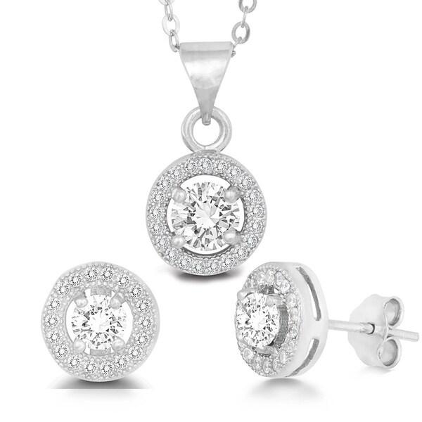 La Preciosa Sterling Silver Micro Pave Cubic Zirconia Circle Earrings and Pendant Set