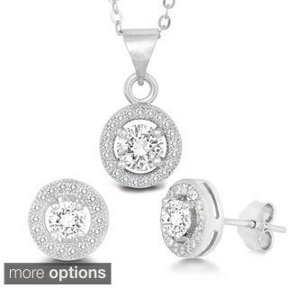 La Preciosa Sterling Silver Micro Pave Cubic Zirconia Circle Earrings and Pendant Set