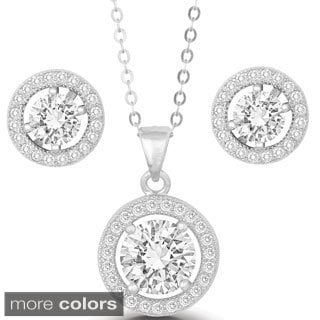 La Preciosa Sterling Silver Prong-set Cubic Zirconia Circle Earrings and Pendant Set