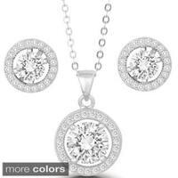La Preciosa Sterling Silver Prong-set Cubic Zirconia Circle Earrings and Pendant Set