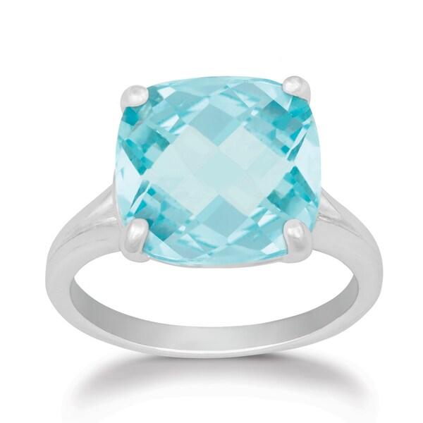 La Preciosa Sterling Silver Faceted Cushion-cut Blue Topaz Ring