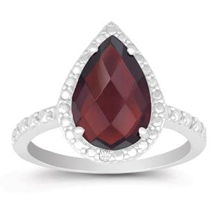 La Preciosa Sterling Silver Garnet and Diamond Accent Ring