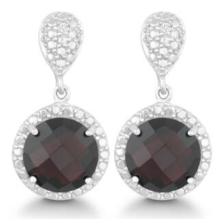 La Preciosa Sterling Silver 1/2ct TDW Diamond and Garnet Circle Earrings (I-J, I2-I3)