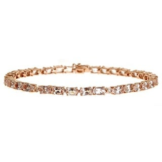 Anika and August 14k Rose Gold Morganite and Diamond Bracelet (G-H, I1-I2)