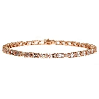 Anika and August 14k Rose Gold Morganite and Diamond Bracelet (G-H, I1-I2)