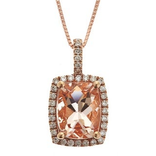 Anika and August 10k Rose Gold Cushion-cut Morganite and Diamond Pendant (G-H, I1-I2)