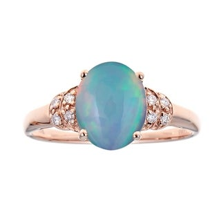 Anika And August 14k Rose Gold Oval Cut Ethiopian Opal And Diamond Accent Ring