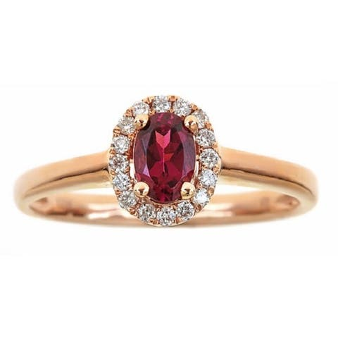 Anika and August 10k Rose Gold Oval-cut Rubellite and Diamond Ring (G-H, I1-I2)