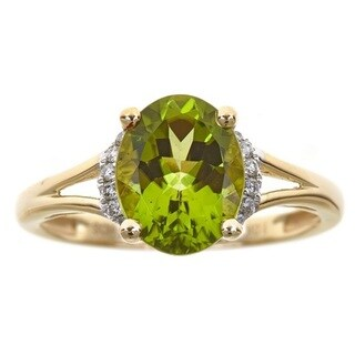 D'yach 10k Yellow Gold Oval-cut Peridot and Diamond Accent Ring