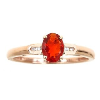 Anika and August 14k Rose Gold Oval-cut Fire Opal and Diamond Accent Ring