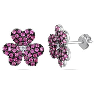 Miadora Sterling Silver Created White and Pink Sapphire Flower Earrings