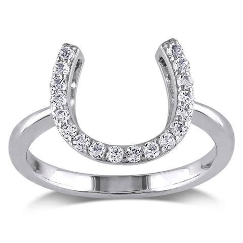Miadora Sterling Silver White Topaz Horseshoe Ring