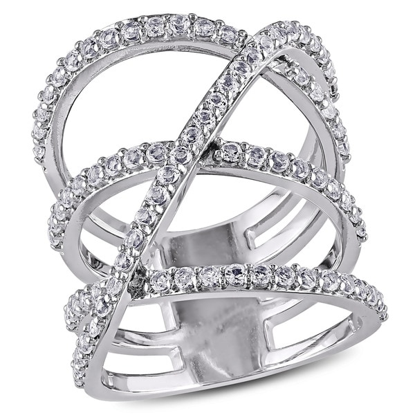 Miadora Sterling Silver White Topaz Crossover Ring