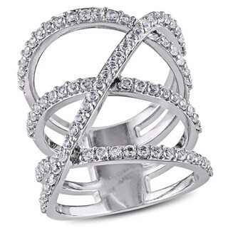 Miadora Sterling Silver White Topaz Crossover Ring