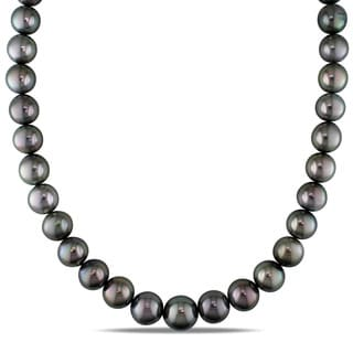 Miadora Signature Collection 14k White Gold Tahitian Pearl and Diamond Accent Necklace (11-13 mm)