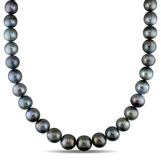 Miadora Signature Collection 14k White Gold Tahitian Pearl and Diamond Accent Necklace (11-14 mm)