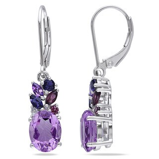 Miadora Sterling Silver Amethyst Garnet Iolite and Diamond Accent Earrings