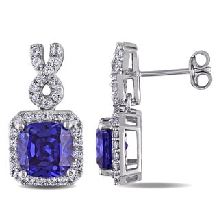 Miadora Silver Created White Sapphire and Created Tanzanite Earrings