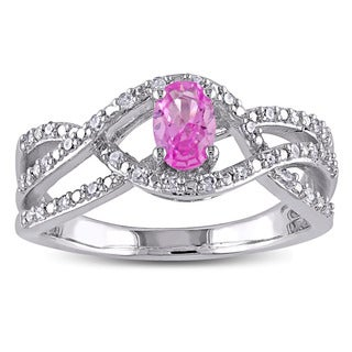 Miadora Silver Created Pink Sapphire and 1/6ct TDW Diamond Ring (H-I, I2-I3)