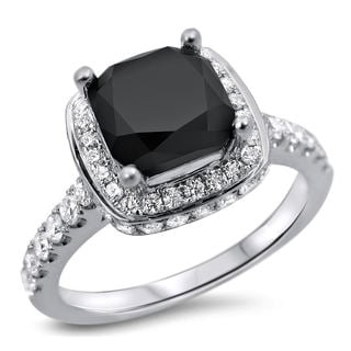 Noori 18k White Gold 2 1/3ct Cushion-cut Black Diamond Ring