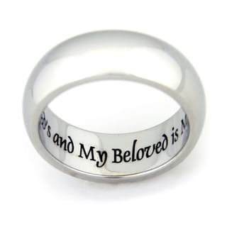 "Link to ""I Am My Beloved and My Beloved Is Mine"" Engraved Stainless Steel Ring - Silver Similar Items in Rings"