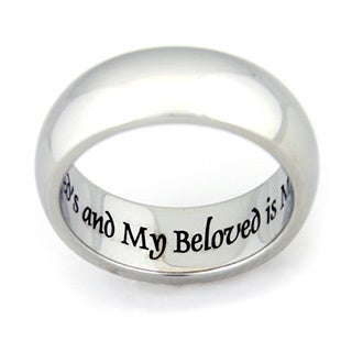 """I Am My Beloved And My Beloved Is Mine"" Engraved Stainless Steel Ring"