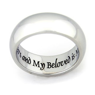 """I Am My Beloved And My Beloved Is Mine"" Engraved Stainless Steel Ring - Silver"