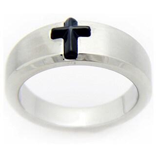 Black Enamel Stainless Steel Cross Ring