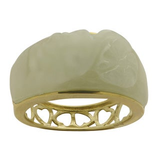 10k Yellow Gold Hearts and Flowers Jade Ring