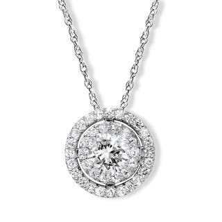 Buy 1 to 15 carats diamond necklaces online at overstock our 14k white gold 1ct tdw double halo round diamond pendant aloadofball Image collections