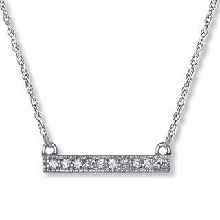 14k White Gold Petite Diamond Bar Necklace (I-J, I2-I3)