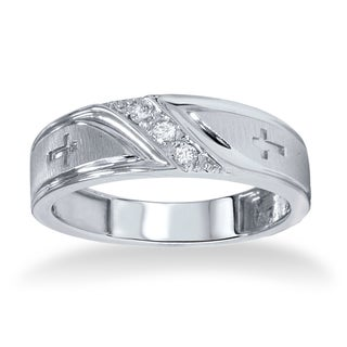 10k White Gold 1/10ct TDW Men's Diamond Cross Band (I-J, I2-I3)
