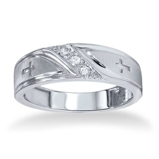 10k White Gold Men's 1/10ct TDW Diamond Cross Band (I-J, I2-I3)