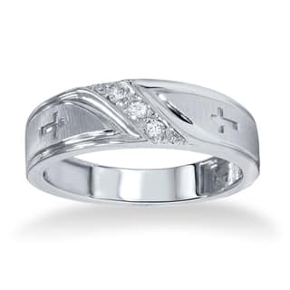 10k White Gold Men's 1/10ct TDW Diamond Cross Band|https://ak1.ostkcdn.com/images/products/9578942/P16768267.jpg?impolicy=medium