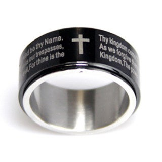 Black Ion-plated Stainless Steel Lord's Prayer Spinner Ring. Opens flyout.